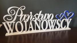 Napis na stół 3D Nazwisko z sercem