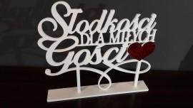 Słodkości dla miłych gości - napis 3D na słodki stół