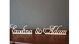 Imiona Pary Młodej - napis ze sklejki drewnianej na stół Pańśtwa Młodych